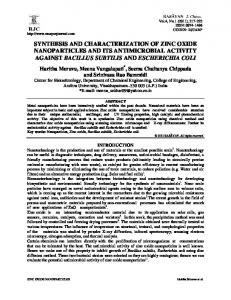 synthesis and characterization of zinc oxide nanoparticles and its ...