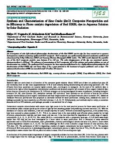 Synthesis and Characterization of Zinc Oxide (ZnO) - CRDEEP Journals