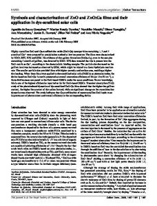 Synthesis and characterization of ZnO and ZnO:Ga ...