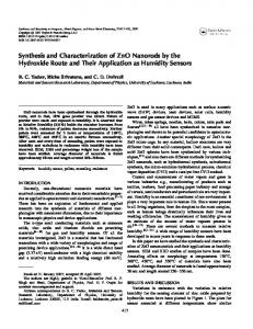Synthesis and Characterization of ZnO Nanorods by the Hydroxide ...