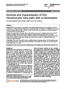 Synthesis and characterization of ZnO