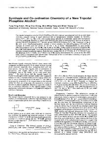 Synthesis and Co-ordination Chemistry of a New Tripodal Phosphine ...