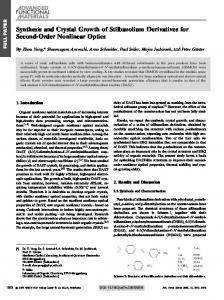 Synthesis and Crystal Growth of Stilbazolium Derivatives for Second ...