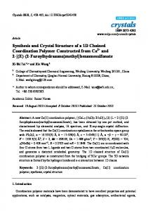 Synthesis and Crystal Structure of a 1D Chained Coordination ...