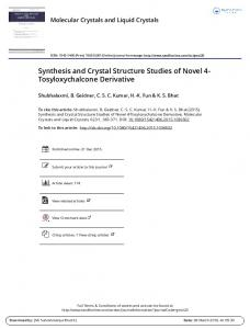 Synthesis and Crystal Structure Studies of Novel 4