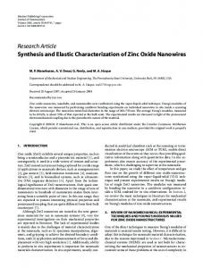 Synthesis and Elastic Characterization of Zinc Oxide Nanowires
