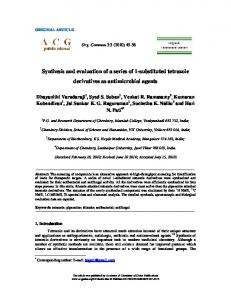 Synthesis and evaluation of a series of 1 ... - ACG Publications