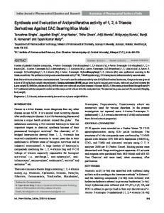 Synthesis and Evaluation of Antiproliferative activity of ...