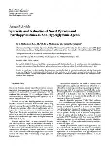 Synthesis and Evaluation of Novel Pyrroles and Pyrrolopyrimidines as