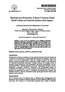synthesis and evaluation of some coumarin based