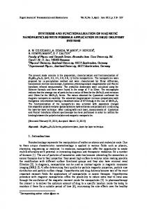 synthesis and functionalization of magnetic nanoparticles with ...