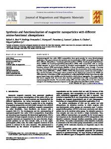 Synthesis and functionalization of magnetite nanoparticles with ... - Core