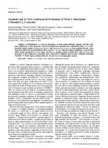 Synthesis and in Vitro Antibacterial Evaluation of Novel 4-Substituted ...