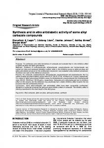 Synthesis and in vitro antidiabetic activity of some alkyl carbazole ...