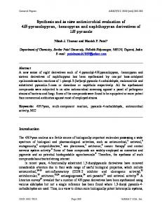 Synthesis and in vitro antimicrobial evaluation of 4H ... - Arkivoc