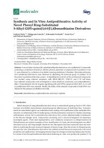 Synthesis and In Vitro Antiproliferative Activity of Novel Phenyl Ring