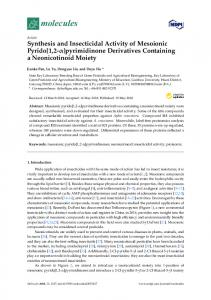 Synthesis and Insecticidal Activity of Mesoionic Pyrido[1,2-] - MDPI