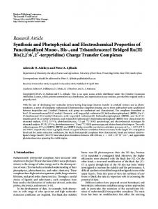 Synthesis and Photophysical and Electrochemical Properties of