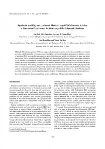 Synthesis and Polymerization of Methacryloyl-PEG-Sulfonic Acid as a ...