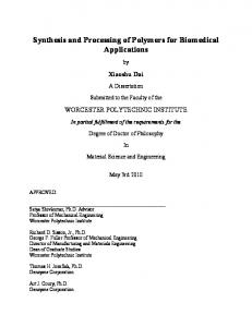 Synthesis and Processing of Polymers for Biomedical