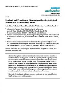 Synthesis and Promising in Vitro Antiproliferative Activity of ... - MDPI
