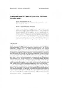Synthesis and properties of hydroxy-containing ortho-linked poly(ether ...