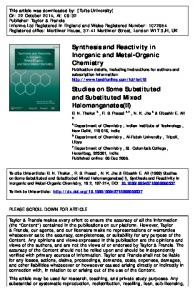 Synthesis and Reactivity in Inorganic and Metal ...