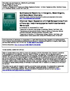 Synthesis and Reactivity in Inorganic, Metal-Organic ...