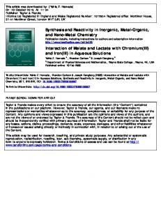 Synthesis and Reactivity in Inorganic, Metal-Organic