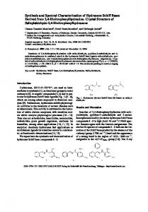 Synthesis and Spectral Characterization of Hydrazone Schiff Bases ...