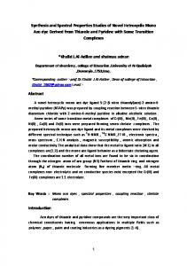 Synthesis and Spectral pProperties Studies of Novel