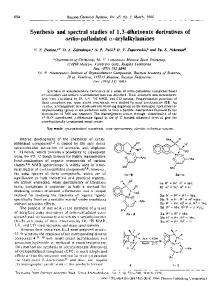 Synthesis and spectral studies of 1,3-diketonate