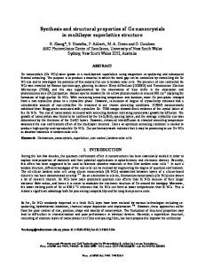Synthesis and structural properties of Ge nanocrystals ...