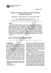 synthesis and study of antitumor activity of substituted