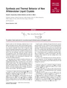 Synthesis and Thermal Behavior of New N-Heterotolan Liquid Crystals