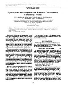 Synthesis and Thermodynamic and Structural ... - Springer Link