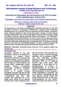 SYNTHESIS, ANTIMICROBIAL AND ANTHELMINTIC ACTIVITY OF ...