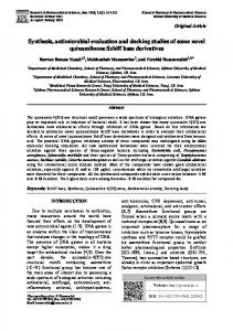 Synthesis, antimicrobial evaluation and docking studies of some novel ...