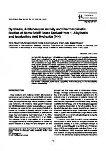 Synthesis, Antitubercular Activity and Pharmacokinetic Studies of