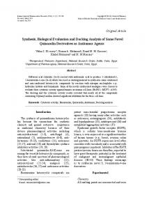 Synthesis, Biological Evaluation and Docking ... - Semantic Scholar
