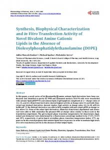 Synthesis, Biophysical Characterization and in Vitro Transfection ...