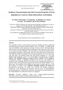 Synthesis, Characterization and Anti-Corrosion Properties of Novel