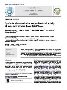 Synthesis, characterization and antibacterial activity of some ... - Core