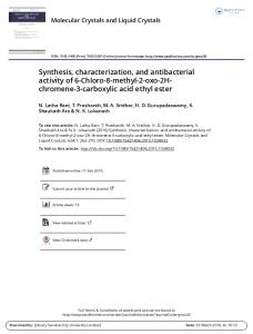 Synthesis, characterization, and antibacterial activity