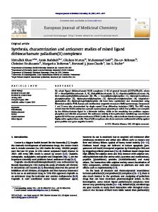 Synthesis, characterization and anticancer studies of ...