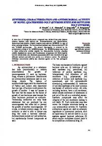 synthesis, characterization and antimicrobial activity of novel