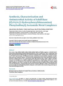 Synthesis, Characterization and Antimicrobial Activity of Schiff Base (E ...