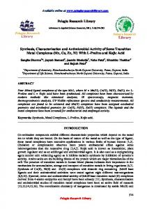 Synthesis, Characterization and Antimicrobial Activity of ... - iMedpub