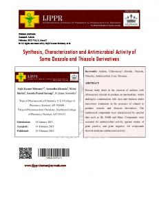 Synthesis, Characterization and Antimicrobial Activity of Some