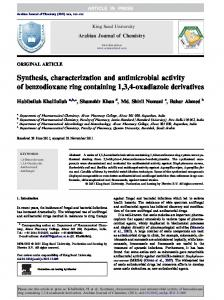 Synthesis, characterization and antimicrobial activity ... - CyberLeninka